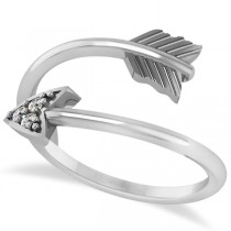 Cupid's Arrow Ring Diamond Accented 14k White Gold (0.05ct)