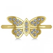 Butterfly Ring Diamond Accented 14k Yellow Gold (0.23ct)