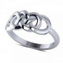 Double Infinity Fashion Ring in Plain Metal 14k White Gold