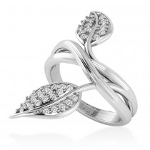 Diamond Accented Leaf Ring 14k White Gold (0.35ct)