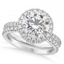 Diamond Round-Cut Halo Curved Bridal Set 14k White Gold (2.77ct)