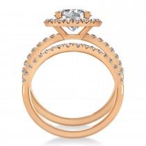 Diamond Round-Cut Halo Curved Bridal Set 18K Rose Gold (2.77ct)