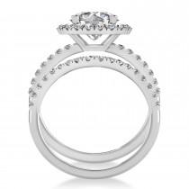 Diamond Round-Cut Halo Curved Bridal Set 18K White Gold (2.77ct)