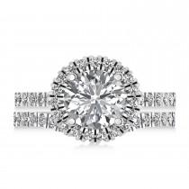 Diamond Round-Cut Halo Curved Bridal Set Palladium (2.77ct)