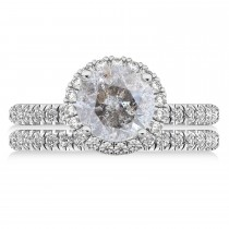 Salt & Pepper & White Diamond Round-Cut Halo Curved Bridal Set 14K White Gold (2.77ct)