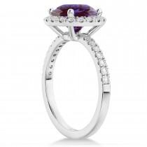 Halo Lab Alexandrite & Diamond Engagement Ring 14K White Gold 2.30ct