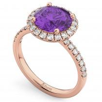 Halo Amethyst & Diamond Engagement Ring 14K Rose Gold 2.30ct
