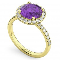 Halo Amethyst & Diamond Engagement Ring 14K Yellow Gold 2.30ct