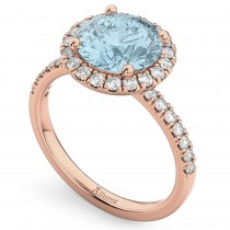 Halo Aquamarine & Diamond Engagement Ring 14K Rose Gold 2.70ct