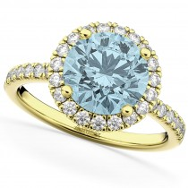 Halo Aquamarine & Diamond Engagement Ring 14K Yellow Gold 2.70ct