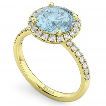 Halo Aquamarine & Diamond Engagement Ring 14K Yellow Gold 2.70ct