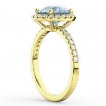 Halo Aquamarine & Diamond Engagement Ring 18K Yellow Gold 2.70ct