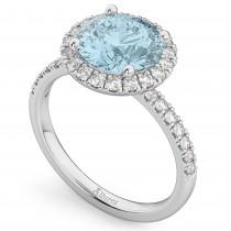 Halo Aquamarine & Diamond Engagement Ring Palladium 2.70ct