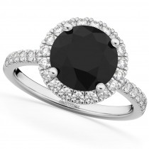 Halo White & Black Diamond Engagement Ring 14K White Gold (2.50ct)