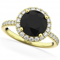 Halo White & Black Diamond Engagement Ring 14K Yellow Gold (2.50ct)