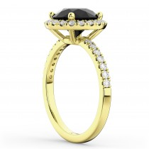 Halo White & Black Diamond Engagement Ring 14K Yellow Gold (2.50ct)
