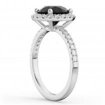 Halo White & Black Diamond Engagement Ring 18K White Gold (2.50ct)