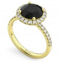 Halo White & Black Diamond Engagement Ring 18K Yellow Gold (2.50ct)