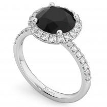 Halo White & Black Diamond Engagement Ring Palladium (2.50ct)