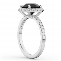 Halo White & Black Diamond Engagement Ring Platinum (2.50ct)