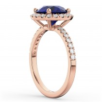 Halo Blue Sapphire & Diamond Engagement Ring 14K Rose Gold 2.80ct