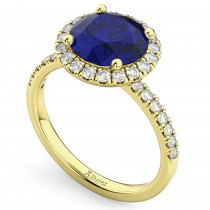 Halo Blue Sapphire & Diamond Engagement Ring 14K Yellow Gold 2.80ct
