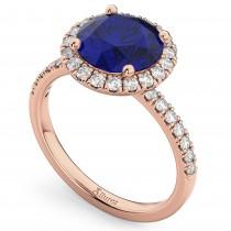 Halo Blue Sapphire & Diamond Engagement Ring 18K Rose Gold 2.80ct