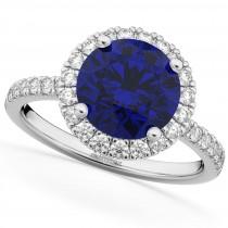 Halo Blue Sapphire & Diamond Engagement Ring 18K White Gold 2.80ct