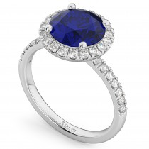 Halo Blue Sapphire & Diamond Engagement Ring Platinum 2.80ct