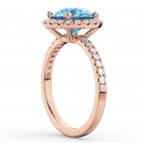 Halo Blue Topaz & Diamond Engagement Ring 14K Rose Gold 3.00ct