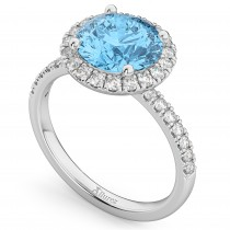 Halo Blue Topaz & Diamond Engagement Ring 14K White Gold 3.00ct