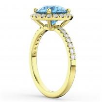 Halo Blue Topaz & Diamond Engagement Ring 18K Yellow Gold 3.00ct