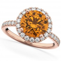 Halo Citrine & Diamond Engagement Ring 14K Rose Gold 2.30ct