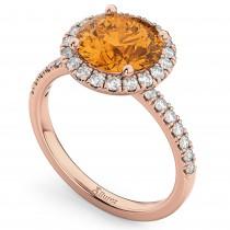 Halo Citrine & Diamond Engagement Ring 14K Rose Gold 2.30ct