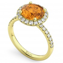 Halo Citrine & Diamond Engagement Ring 14K Yellow Gold 2.30ct