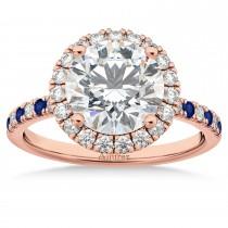 Blue Sapphire & Diamond Halo Engagement Ring Setting 14K Rose Gold (0.50ct)