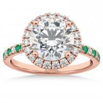 Emerald & Diamond Halo Engagement Ring Setting 14K Rose Gold (0.50ct)