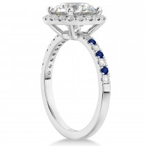 Blue Sapphire & Diamond Halo Engagement Ring Setting 14K White Gold (0.50ct)