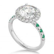 Emerald & Diamond Halo Engagement Ring Setting 14K White Gold (0.50ct)