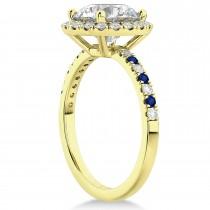 Blue Sapphire & Diamond Halo Engagement Ring Setting 14K Yellow Gold (0.50ct)