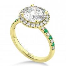 Emerald & Diamond Halo Engagement Ring Setting 14K Yellow Gold (0.50ct)