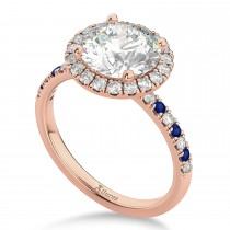 Blue Sapphire & Diamond Halo Engagement Ring Setting 18k Rose Gold (0.50ct)