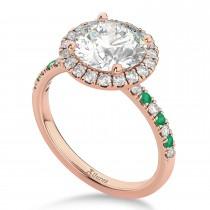 Emerald & Diamond Halo Engagement Ring Setting 18k Rose Gold (0.50ct)
