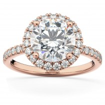 Diamond Accented Halo Engagement Ring Setting 18k Rose Gold (0.50ct)