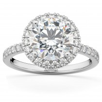 Diamond Accented Halo Engagement Ring Setting 18k White Gold (0.50ct)