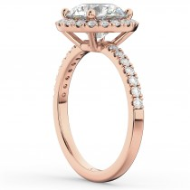 Lab Grown Diamond Accented Halo Engagement Ring Setting 14K Rose Gold (0.50ct)