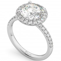 Lab Grown Diamond Accented Halo Engagement Ring Setting Platinum (0.50ct)