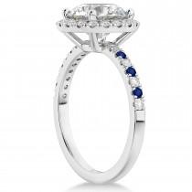 Blue Sapphire & Diamond Halo Engagement Ring Setting Palladium (0.50ct)