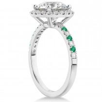 Emerald & Diamond Halo Engagement Ring Setting Palladium (0.50ct)