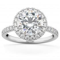 Diamond Accented Halo Engagement Ring Setting Palladium (0.50ct)